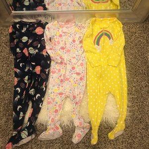 Carter's no slip grip footie zip up  pj bundle